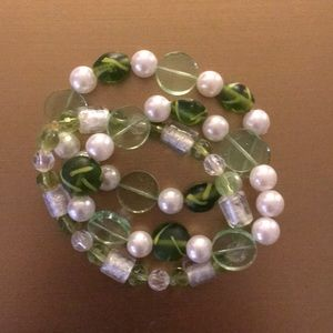 Set of three green beaded stretchy bracelets